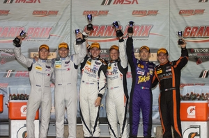 Podium for #8 Mishumotors/Starworks at Grand Prix of Kansas